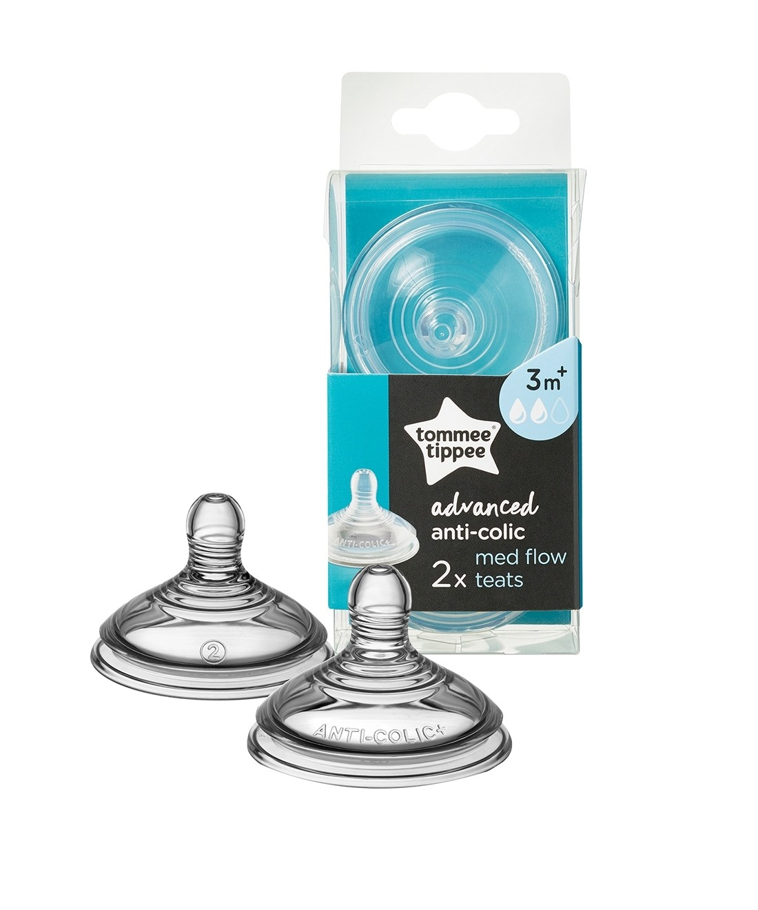 Tommee Tippee Advanced Anti-Colic Medium Flow Teats - 2 Pack