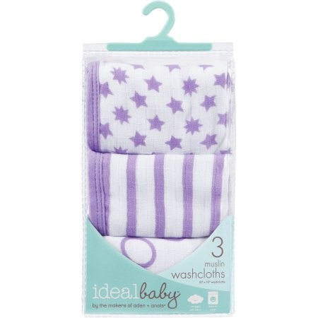 Ideal Baby by Aden + Anais - Washcloths Purple Star/Stripe/Circle ( Pack of 3 )