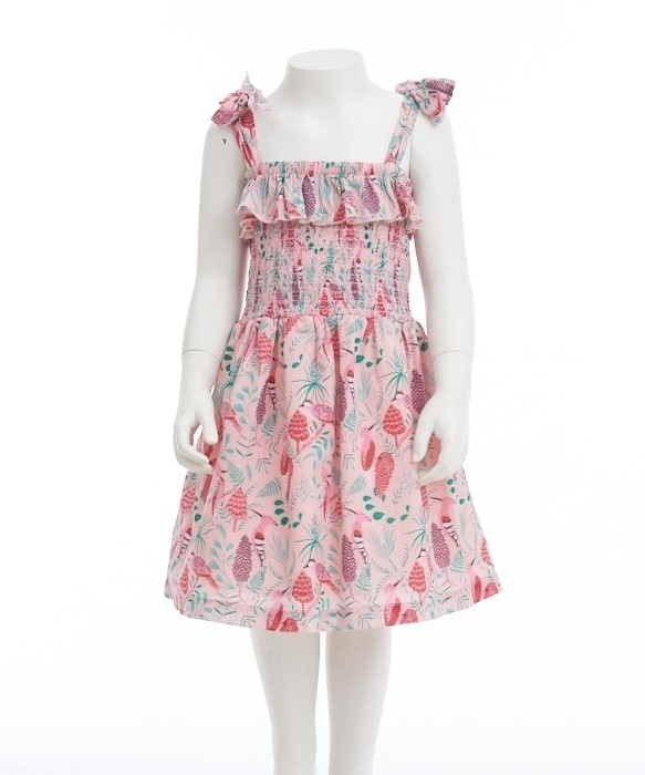 Gingersnaps Printed Strappy Smocked & Frill Bodice Dress