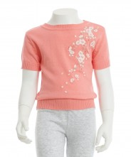 Gingersnaps Floral Embroidery Knitted Blouse