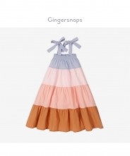 Gingersnaps Crumpled Cotton Tie Straps Tiered Knee-Length Dress