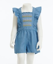 Gingersnap Butterfly Sleeves Smocked Bodice Jumpsuit