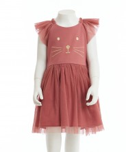 Gingersnaps Frilly Sleeves Kitty Embroidered Dress
