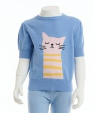 Gingersnap Cat Intarsia-Knit Pullover Sweater