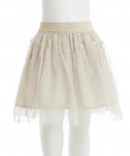 Gingersnaps Embroidery Floral Gold Tulle Skirt