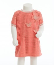 Gingersnap Grid Eyelet A-Line Dress