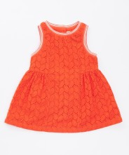 Gingersnaps Parrot Embro Patch Eyelet Dress