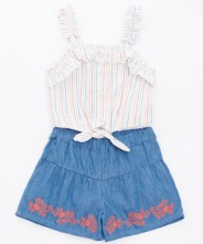Gingersnaps Stripey Blouse & Embroidered Shorts Set