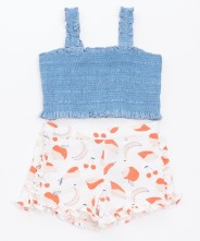 Gingersnaps Smocked Top & Printed Shorts Set