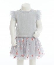 Gingersnap Knitted Top & Embroidered Tulle Skirt Set
