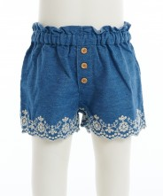 Gingersnap Embroidered Hem Paperbag Waist Shorts