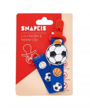Snapkis 2-in-1 Pacifier & Teether Clip - Football