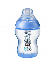 Tommee Tippee Closer to Nature Decorated 260ml Bottle - Blue (1 Pack)