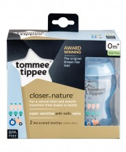 Tommee Tippee Closer to Nature Decorated 260ml Bottle - Blue (2 Pack)