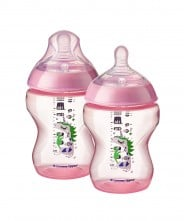Tommee Tippee Closer to Nature Decorated 260ml Bottle - Pink (2 Pack)