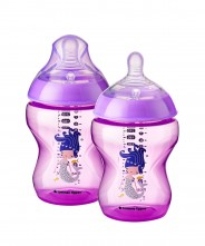 Tommee Tippee Closer to Nature Decorated 260ml Bottle - Purple (2 Pack)