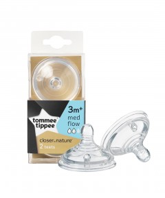 Tommee Tippee Closer to Nature Easivent Medium Flow Teats - 2 Pack