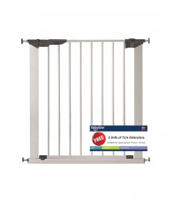 Babydan Premier Gate With 2 Extensions - Silver