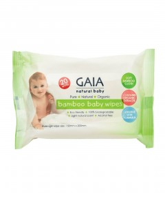 Gaia Natural Baby Wipes - 20 Wipes