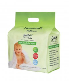 Gaia Natural Baby Wipes - 80 packs x 3