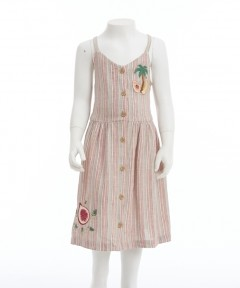 Gingersnaps Front Button Placket Strappy Checked Dress