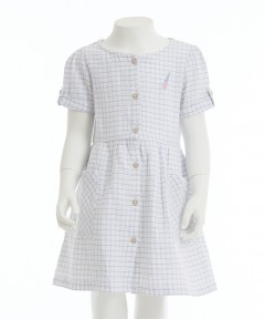 Gingersnap Turn Up Cuffs & Patch Pockets Grid Dress
