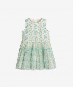 Gingersnaps Embroidered Waisted Sleeveless Tiered Dress