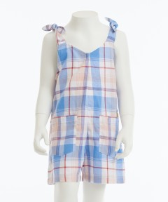 Gingersnap Knotted Shoulders Plaid Jumpsuit