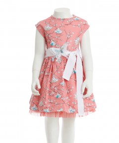 Gingersnaps Sash & Butterfly Applique Printed Dress