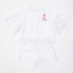 Gingersnaps Bird Patch Top & Lace Shorts Set