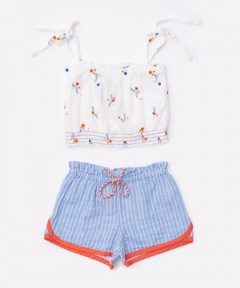Gingersnaps Floral Embro Strappy Top & Shorts Set