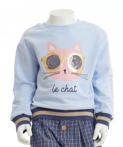 Gingersnaps Flip Sequins Cat Long Sleeves Blouse