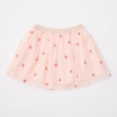 Gingersnaps Peach Embroidered Pleated Tulle Skirt