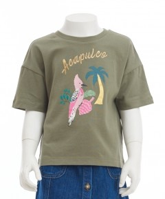 Gingersnaps Cropped Embroidered Shorts Sleeves T-Shirt