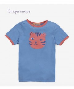 Gingersnaps Tiger Face Ringer Boxy Tee