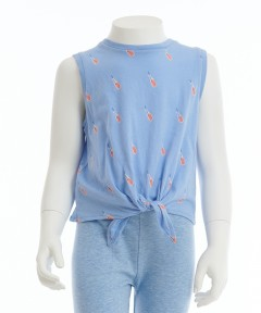 Gingersnap All Over Soda Print Sleeveless Tie Front Top