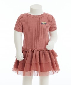 Gingersnap Cat Embro Sweater Knits & Tulle Combi Dress
