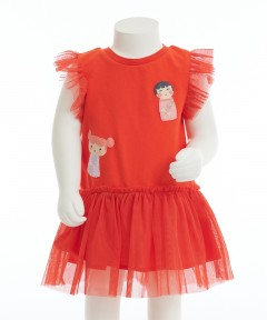 Gingersnap Knitted & Tulle Combi Drop Waisted Dress