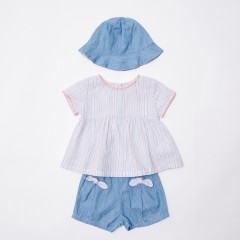 Gingersnaps Stripey Top, Denim Short & Hat Set