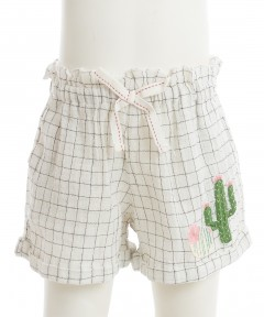 Gingersnaps Cactus Embroidery Grid Shorts