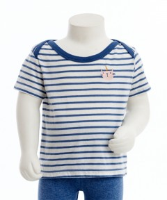 Gingersnaps Cat Head Embroidery Stripey T-Shirts