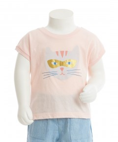 Gingersnaps Cat Face Graphic Print T-Shirt