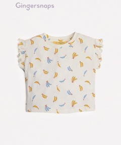 Gingersnaps All Over Banana Front Tie Graphic T-Shirt