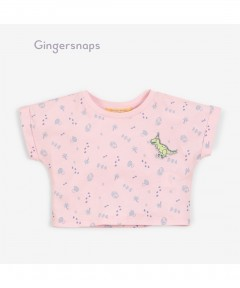 Gingersnaps T-Rex Patch On Allover Egg Print Graphic Tee
