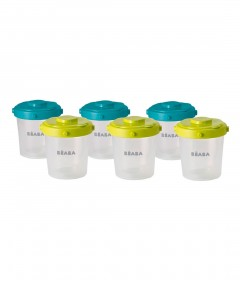 Beaba Clip Containers 200ml, Set of 6 - Blue/Neon