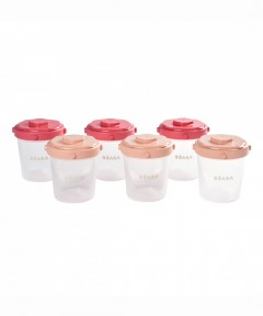 Beaba Clip Containers 200ml, Set of 6 - Pink
