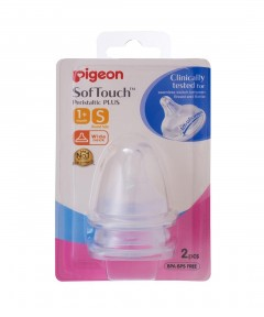 Pigeon Wideneck Peristaltic+ Teat S Size - 2 Pack