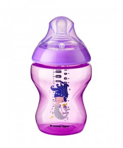 Tommee Tippee Closer to Nature Decorated 260ml Bottle - Purple (1 Pack)
