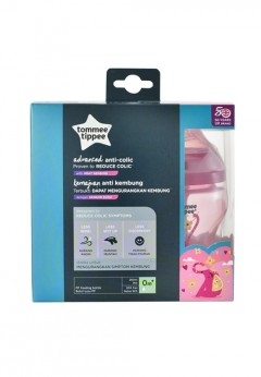 Tommee Tippee Advanced Anti-Colic Bottle 260ml Twin Pack - Pink (2 Pack)